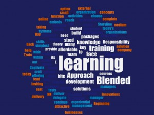 word cloud of blended learning